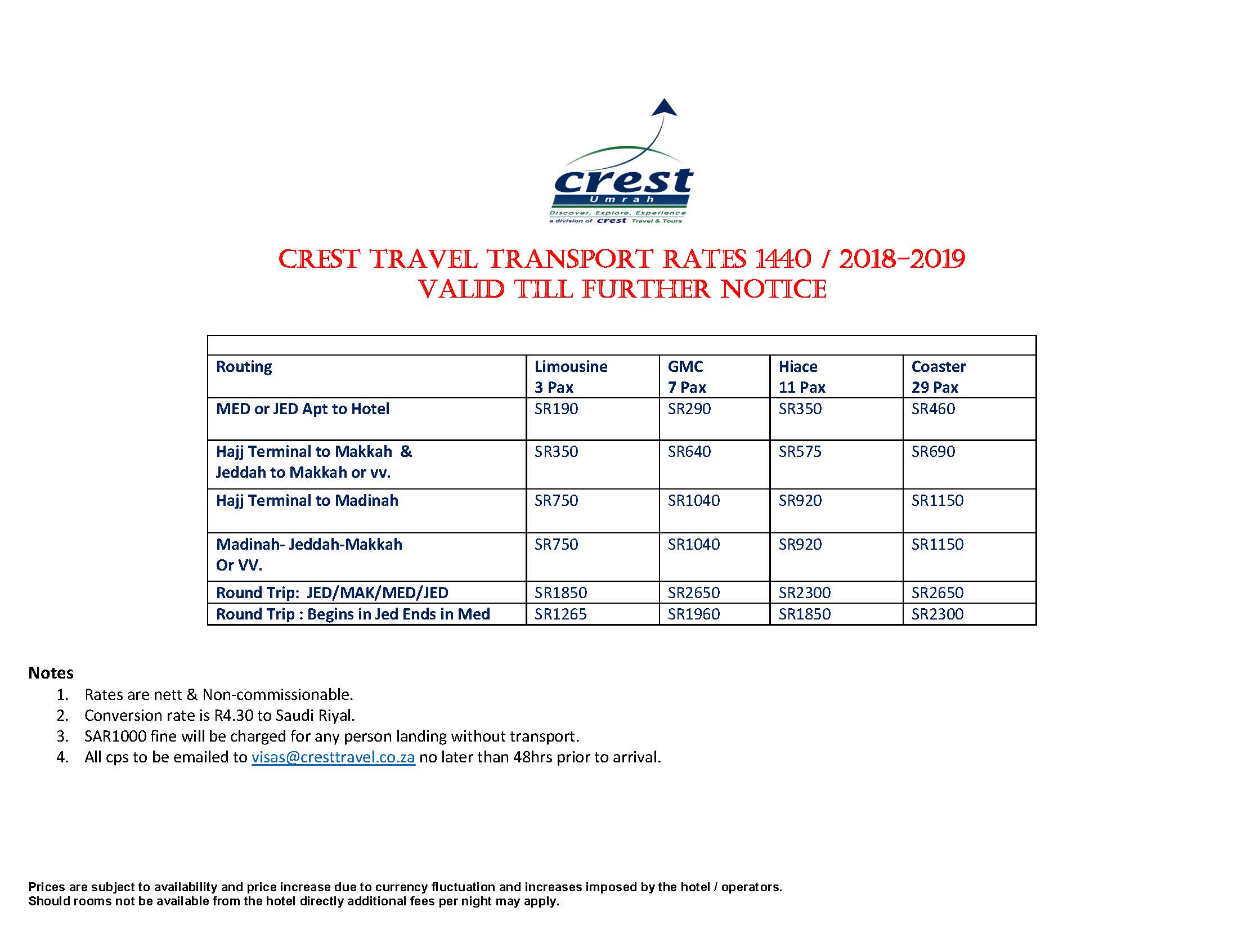 CREST 1440 TRANSPORT RATES